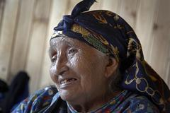 Chile elderly mapuche indian woman female chol Stock Photos