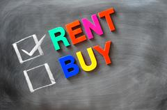Rent and buy check boxes Stock Photos