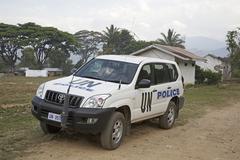 Timor leste un police vehicle aileu by east asia Stock Photos