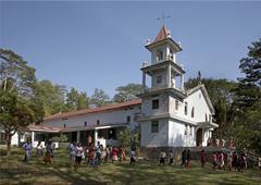 timor leste exterior of catholic church in aileu - stock photo