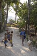 Timor leste main road through kefua village by Stock Photos