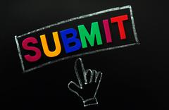 submit button with a cursor hand - stock photo
