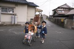 Japan mother and children kids hiroshima 2008 se Stock Photos
