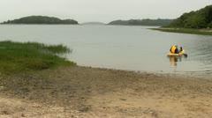 Elderly kayaker Cape Cod; 3 Stock Footage