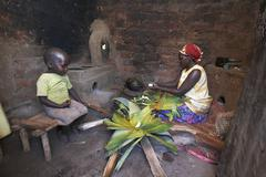 Uganda in the home of farmer and group animator Stock Photos