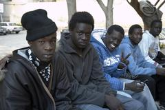 egypt image shows sudanese refugees living in at - stock photo