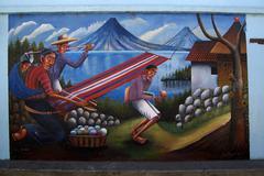 Stock Photo of guatemala san juan la laguna mural depicting way