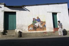 guatemala murals depicting mayan way of life san - stock photo