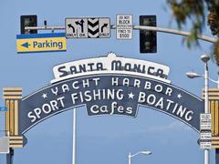 Santa monica pier entrance sign Stock Photos