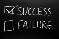 check boxes of success and failure - stock photo