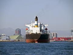 Giant oil tanker in long beach california Stock Photos