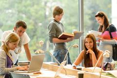 high-school students learning in study teens young - stock photo