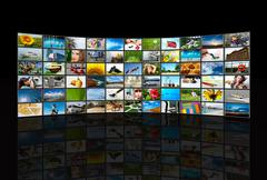screens multimedia panel - stock photo