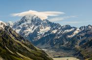Stock Photo of mount cook with cloud at the summit, new zealand