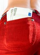 Euro in a pocket Stock Photos