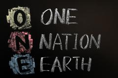 acronym of one - one nation earth - stock photo