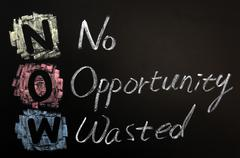 acronym of now - no opportunity wasted - stock photo