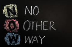 acronym of now - no other way - stock photo