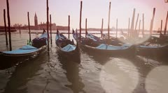 Gondolas in Venice Stock Footage