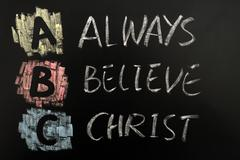 acronym of abc - always believe christ - stock photo
