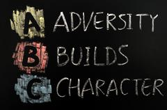 Acronym of abc - adversity builds character Stock Photos