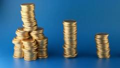 Gold Coins To More Gold Coins Stock Footage