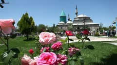 Mevlana museum and rose Stock Footage