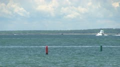 Motor boat on buzzards bay Cape Cod Stock Footage
