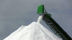 Extraction of salt, conveyor closeup Stock Footage