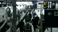 Stock Video Footage of London Bridge Rush Hour Commuters Boarding Train.