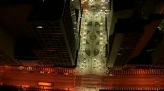 Night Aerial View of Curitiba City - Rua das Flores Stock Footage