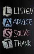 Last acronym - listen,advice,solve and thank Stock Photos
