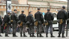 Police Cordon at an opposition meeting, Russia - stock footage