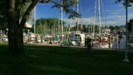 Boats docked in west basin marina Stock Footage