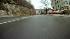 Car POV driving in Bosnia low angle double speed Stock Footage