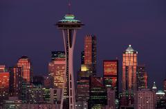 Siluetti skyline Seattle Space Needle kerry Kuvituskuvat