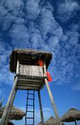 Beach fitness lifeguard tower chacmool caribbean Stock Photos