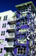 artsy apt building fremont seattle wa washington - stock photo