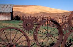 fitness wheel fence barn palouse uniontown wa - stock photo