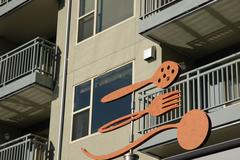 public art fork spoon apartment building fremont - stock photo