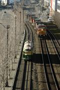 Waterfront streetcar railroad tracks alaskan way Stock Photos
