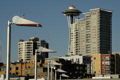 Stock Photo of heat lamp pier 66 belltown condos space needle