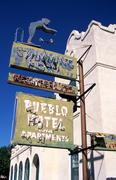 neon signage pueblo hotel tucson pima az mayday - stock photo