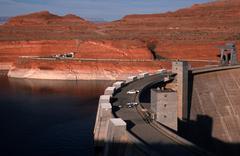fitness glen canyon dam lake powell colorado az - stock photo