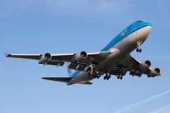 KLM Boeing 747 plane landing - stock photo