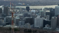 Montreal skyline with antenna in foreground Stock Footage