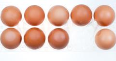 Eleven brown chicken eggs Stock Photos
