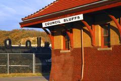 iowa council bluffs historic deport railroad - stock photo