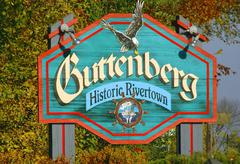 Stock Photo of iowa clayton guttenberg welcome sign historic