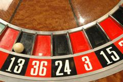 Roulette wheel gambling casino risk games chance Stock Photos